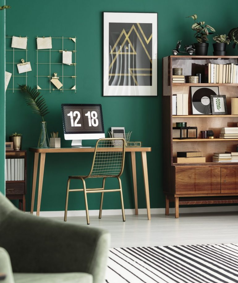Gold and green cozy apartment