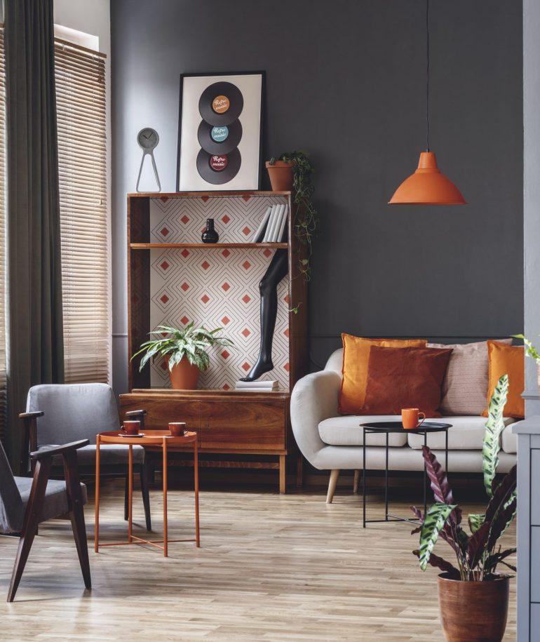 Spacious grey and orange interior